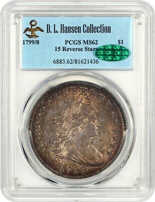 1799/8 $1 PCGS/CAC MS62 (15 Reverse Stars) - Bust Silver Dollar