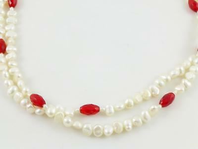 White Cultured Pearl Red Faceted Glass Beaded 2-String Necklace 16.25""