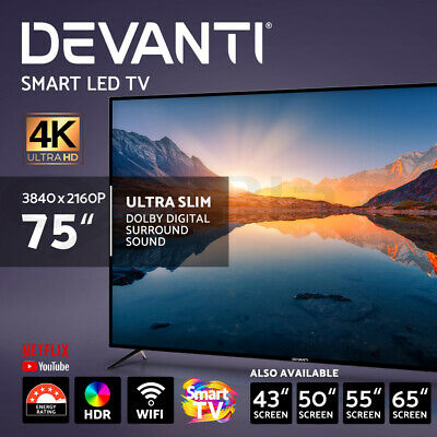 "NEW DEVANTI 65"" 55"" 49"" Inch Smart TV 4K UHD HDR LED LCD Slim LG Screen Netflix"