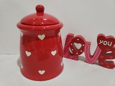 """Valentines Day TERRAMOTO CERAMIC Red White Heart Jar Canister w/ Lid 7"""""""