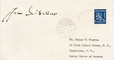JEAN SIBELIUS. Composer. Signed envelope with 1938 postmarked Finland stamp.