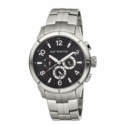 Ray Winton Men s Chronograph Black Dial Silver Stainless Steel Bracelet  Watch f8ed634d019