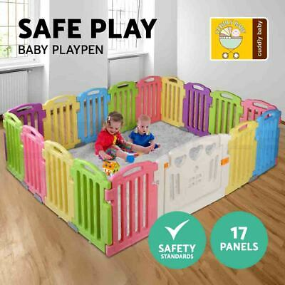 cuddly baby 17-Panel Plastic Baby Playpen Kids Toddler Gate Safety Play Fence