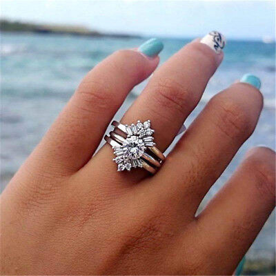 Fashion Women 925 Silver Filled Wedding Engagement Ring White Sapphire Size 6-10