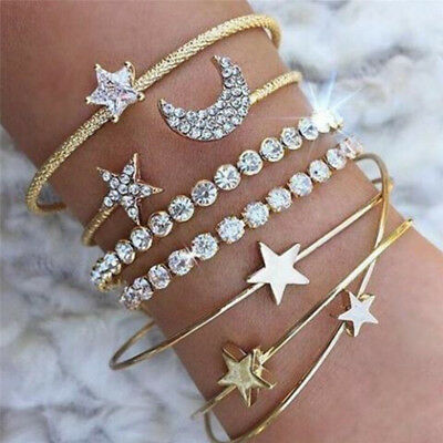 4PCS/Set Cuff Open Crystal Star Bangle Heart Bracelet Women Wristband Jewelry Fo