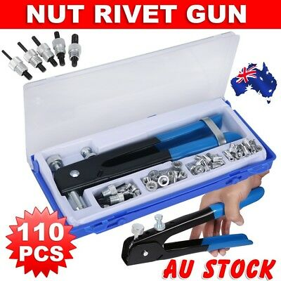 110pcs Nut Rivet Riveter Rivnut Nutsert Gun M3-M8 Threaded Mandrels Riveting Kit