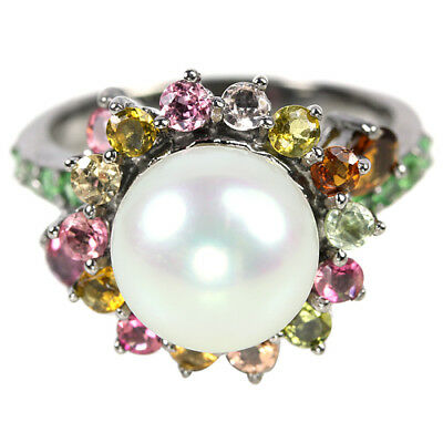 Natural White Pearl & Multi Color Tourmaline Sterling 925 Silver Ring Size 8
