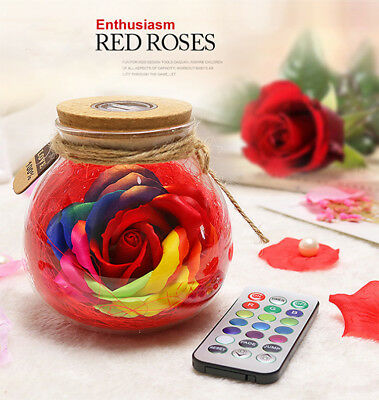 Red Romantic LED Rose Flower Wedding Wishing Bottle Light For Friends Wife Gifts