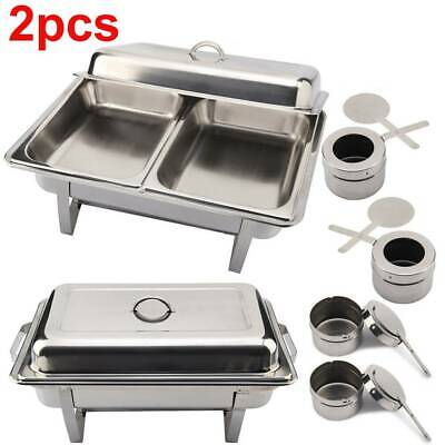 Pack Of 2 Stainless Steel Large Chafing Dish Sets Spoons With  Food Pans Fuel