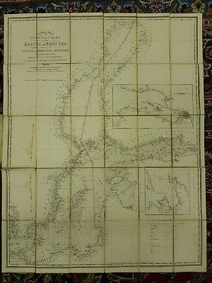 1854 ADMIRALTIE CHART Baltic East Sea JAMES WYLD Cloth Backed MAP Gulfs FINLAND