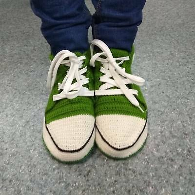 d6c5eba0d63 Handcrafted Green Ladies Crochet Converse Slippers Sneakers with Leather  Sole