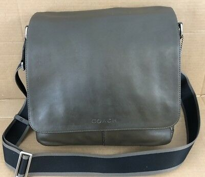239bf2a94315 Coach Heritage Web Leather Messenger Map Bag Purse Olive Green Men s Womens