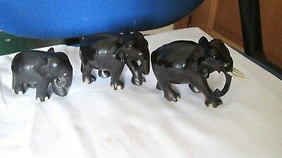 Antique Collection Of 3  Carved Ebony Wood Elephant Figurines