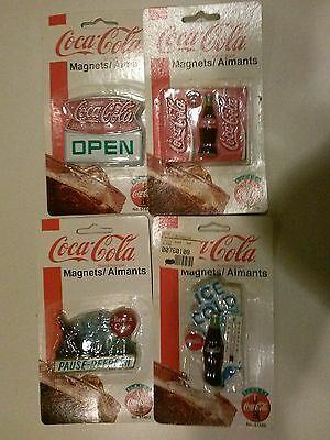 4 Packs Coca Cola Magnets--2 Bears, Disc &  Cup (Year 1997 & 1999) (Unopened)
