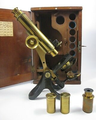 Antique Brass Microscope by Henry Crouch. Cased.