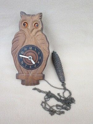 Vintage Paico Moving Eyes Weight Driven Owl Wall Clock For Spares Or Repair