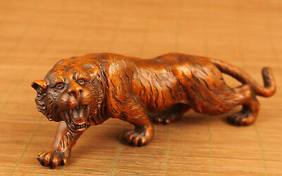 fierce Rare Chinese Old Boxwood fierce tiger Statue feng shui home deco Gift