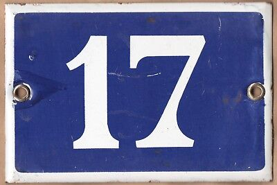 Old blue French house number 17 door gate plate plaque enamel steel metal sign