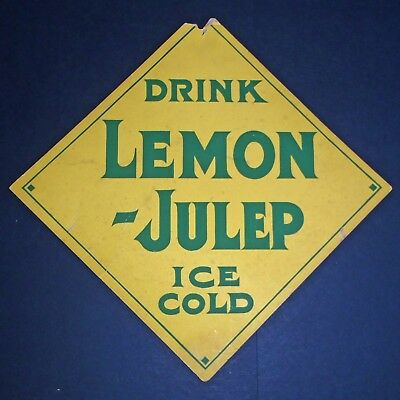 Antique 1920's Drink Ice Cold LEMON-JULEP Soda Fountain Advertising Display Sign