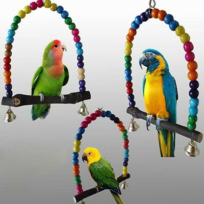 Parrot Swing Wood Colorful Beads Pet Bird Cage Hanging Toy for Parakeet Cockatie