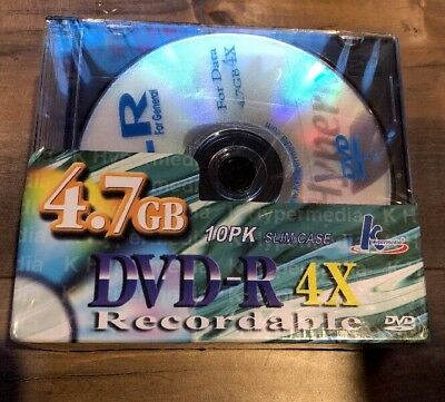 New Sealed K Hypermedia 4.7 GB DVD-R 4X Recordable Discs 10 Pack
