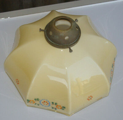 Vintage 'art Deco' Glass Lampshade With Brass Gallery