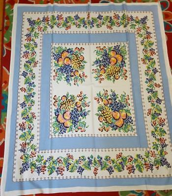 VERY PRETTY VINTAGE TABLECLOTH PERIWINKLE BLUE ASSORTED FRUIT Leacock?