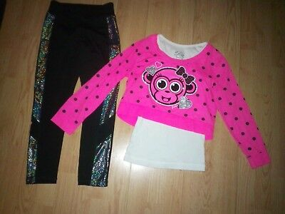 Justice Monkey 2 Piece Girls Outfit Size 8-10