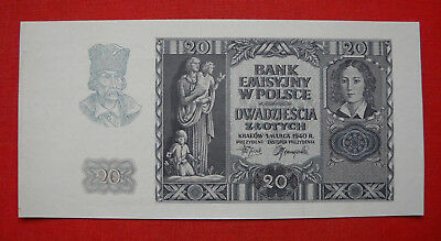 SPECIMEN 20 Zlotych Occupation of Poland through German Land 1939-45 P-95 , Rare
