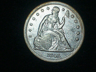 1843 Seated Liberty Silver Dollar $1- Estate Coin - Excellent Details
