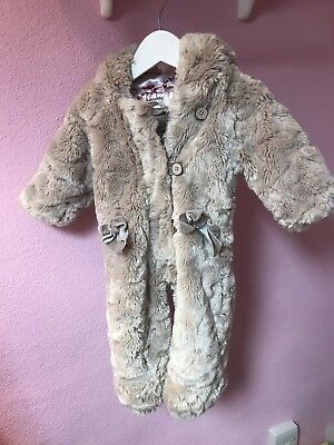 Ted Baker Baby Girl Faux Fur Pramsuit Snowsuit 3 - 6 Months