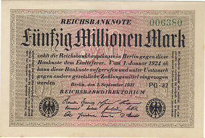 1923 50 Million Mark Germany Unc Reichsbanknote German Banknote Note Bill Cash