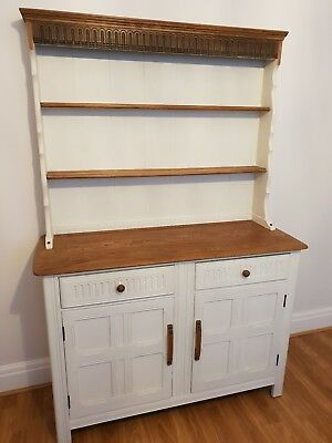 Antique Welsh dresser upcycled and painted   off white solid oak vintage