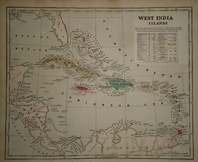 Antique 1856 Hand Colored WEST INDIA ISLANDS MAP Old Authentic Vintage Atlas Map