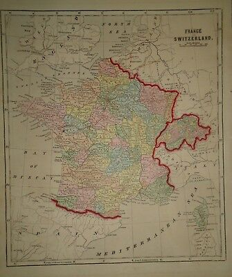 Antique 1856 Hand Colored FRANCE SWITZERLAND MAP Old Authentic Vintage Atlas Map
