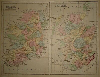Antique 1856 Hand Colored IRELAND - SCOTLAND MAP Old Authentic Vintage Atlas Map