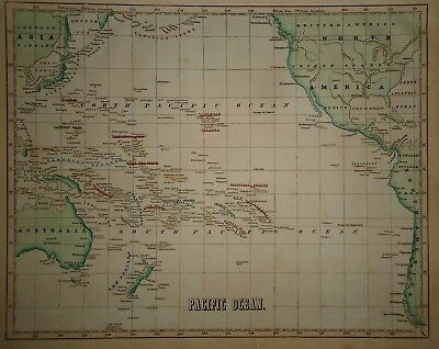 Antique 1856 Hand Colored PACIFIC OCEAN MAP Old Authentic Vintage Atlas Map