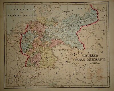 Antique 1856 Hand Colored PRUSSIA - GERMANY MAP Old Authentic Vintage Atlas Map