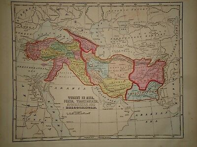 Antique 1856 Hand Colored AFGHANISTAN - PERSIA MAP Old Authentic Vintage