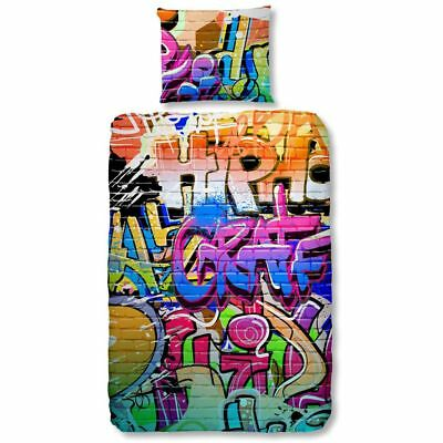 Good Morning Housse de Couette Graffiti 140x200/220 cm Multicolore Enfant