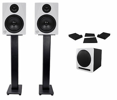 "(2) Rockville APM5W 5.25"" Powered Studio Monitors+Active Subwoofer+Stands+Pads"