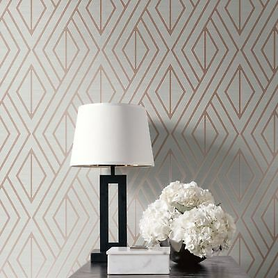 Geometric Wallpaper Grey / Rose Gold - Pear Tree Studios Uk30506 Metallic
