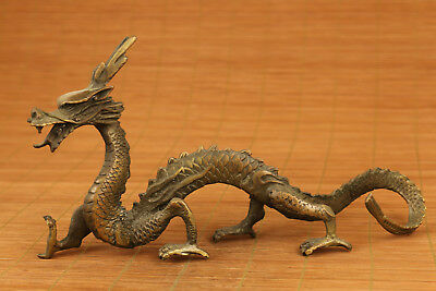 chinese old bronze hand carved dragon statue collectable ornament netsuke