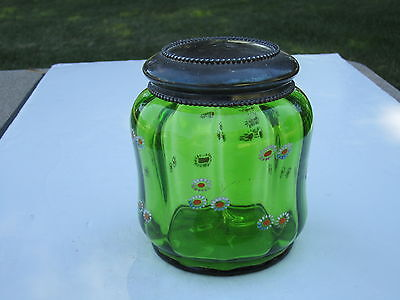 Antique Green Hand Made Glass With Daisy Flowers & Metal Top Tobacco Humidor