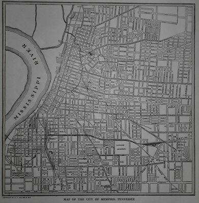 Antique 1926 Post World War WWI OLD Atlas City Map Memphis Tennessee Tenn L@@K!