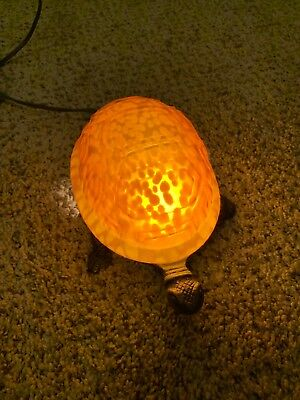 Glowing Amber Turtle Lamp