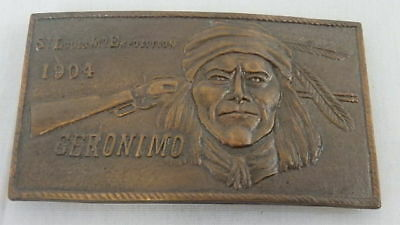 Geronimo Belt Buckle * St. Louis Exposition 1904 * Brass by Indiana Metal, Co.