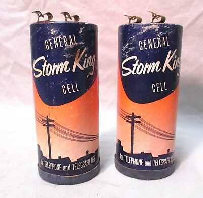 Vintage General Storm King Telephone Telegraph Batteries Battery Great Litho