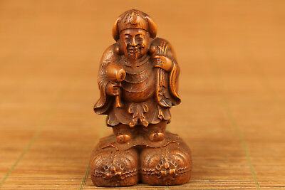 chinese old boxwood hand carved Buddha collectable god of wealthy statue figure