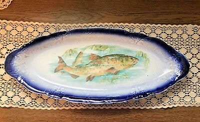 Beautiful Antique LARGE Fish Platter ~ Flow Blue ~ Transferware